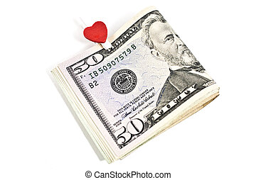 U.S. dollars with the symbol of the heart