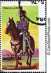 US Dragoon - UNITED STATES - CIRCA 1976: mail stamp printed...