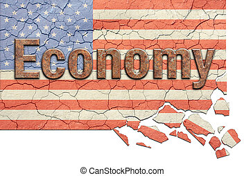 US Economy Crumbling - Cracked, aged and crumbling american...