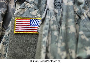 u..s. el indicador, remiendo, en, el, ejército, uniforme