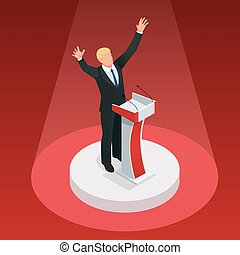 Us Election 2016 infographic Democrat Republican convention hall. Party presidential debate endorsement. Trump GOP opponent rally Flat senate congress tribune pedestal auditorium audience