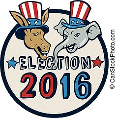 US Election 2016 Mascot Donkey Elephant Circle Cartoon -...