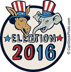 US Election 2016 Mascot Donkey Elephant Circle Cartoon -...