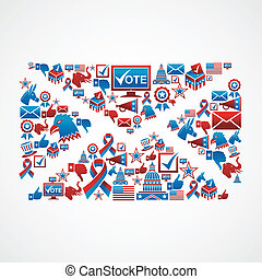 US election icons mail shape - Recruit voters USA election...