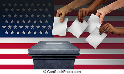 US election and United States vote or American voters voting in the USA for a president or senator and cogressman or cogresswoman with 3D illustration elements.