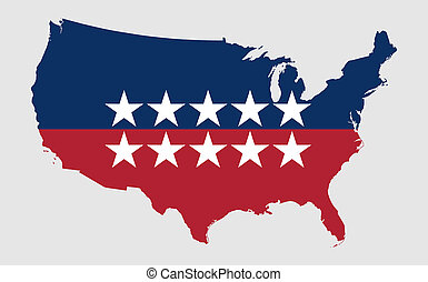 US election, USA map with american flag colors and stars isolated on white background