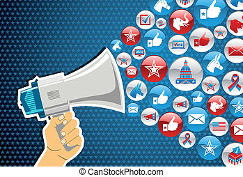 US elections politic marketing communication: hand holding a megaphone with icons splash background. Vector file layered for easy manipulation and custom coloring.