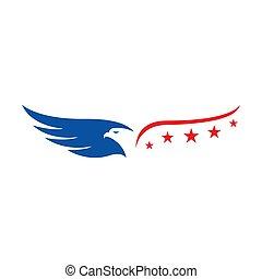 us flag american strip and stars eagle logo vector design concept illustrations