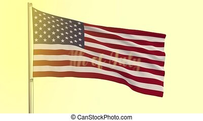 US flag and appearing inscription 4th of July on sunny...