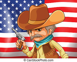 US flag and cowboy
