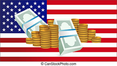 us flag and gold coin towers.