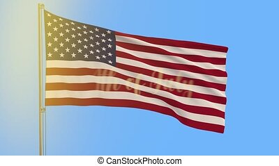 US flag and inscription appears on 4th of July against blue...