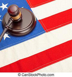 US flag and judge gavel - studio shot - 1 to 1 ratio