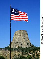 US flag at devils tower - US flag at Devils Tower National...