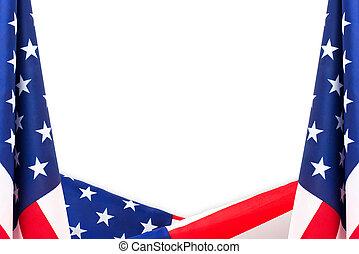 US flag border isolated on white background