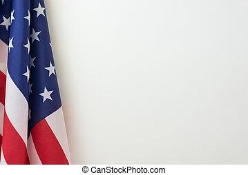 US flag border on white background