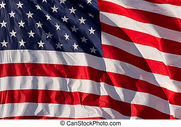 US Flag Closeup - A detailed, vibrant USA flag flapping in...
