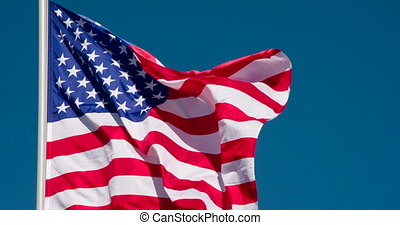US Flag Fluttering in the Wind
