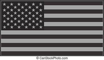 US flag grey - Vector United States flag grey.