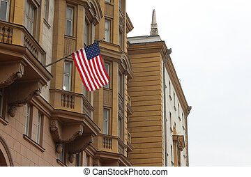 US Flag hanging on the embassy