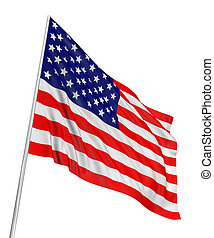 US Flag - Highres 3d rendering of US flag with fabric ...