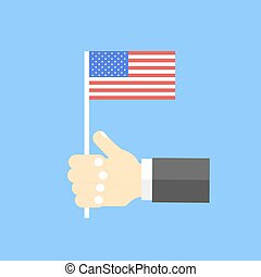 US flag in his hand. Vector illustration .