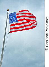 US Flag in the Liberty Park 9/11 memorial