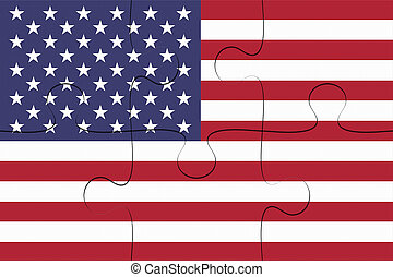 US Flag Jigsaw Puzzle, 3d illustration
