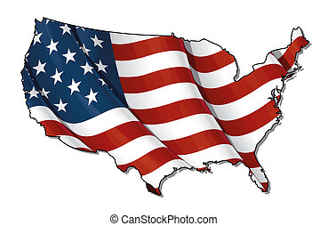 US Flag-Map Flat. Clipping Path - US map outline with the...