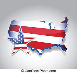 us flag map illustration design