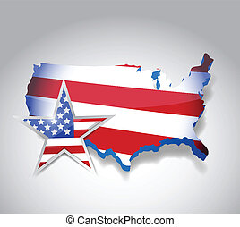 us flag map illustration design