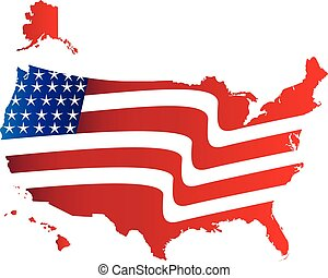 US Flag Map Logo - US American Flag Map with Flag...