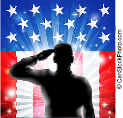 An American US military soldier from the armed forces in silhouette in uniform saluting in front of an American flag background of red white and blue stars and stripes.
