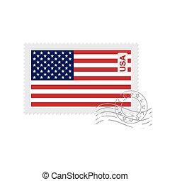 us flag old postage stamp