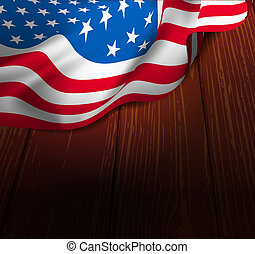 U.S. flag on a wooden floor
