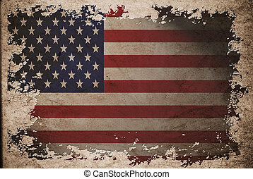 US flag on old vintage paper, can be use for background...