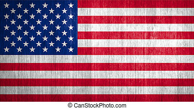 US Flag on wood background