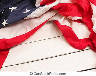 US flag on wood