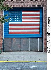 US Flag Painted on Gate