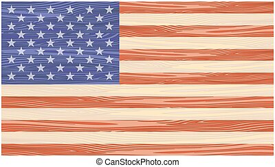 US Flag painted on wooden boards