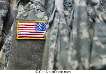 U.S. flag patch on the army uniform - An american flag patch...