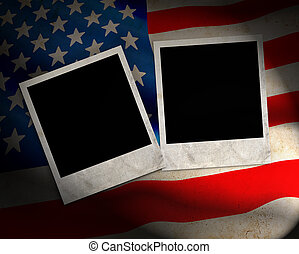 US Flag with photo frames
