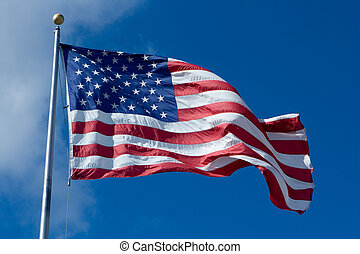 US Flag - United States of America Flag Blowing in the Wind