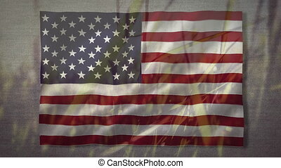 Animation of U.S. flag waving with grass in the background. United States of America flag and holiday concept digital composition.