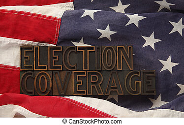 U.S. flag with election coverage
