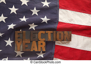 U.S. flag with election year words
