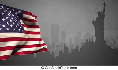 US flag with statue of liberty silhouette