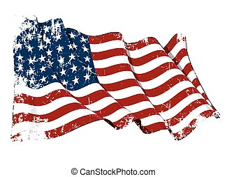 Grunge illustration of a waving US 48 star flag of the period 1912-1959. This design was used by the US in both World Wars and the Korean war.