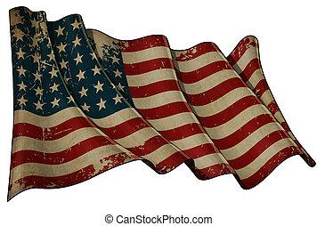 US Flag WWI-WWII (48 stars) Historic Flag - Illustration of...