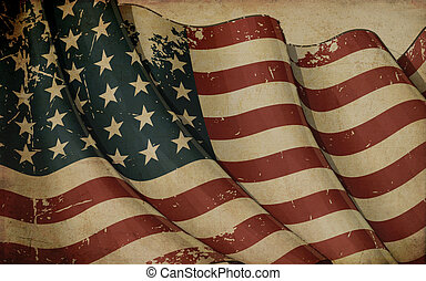 US Flag WWI-WWII (48 stars) Old Paper - Illustration ofan...